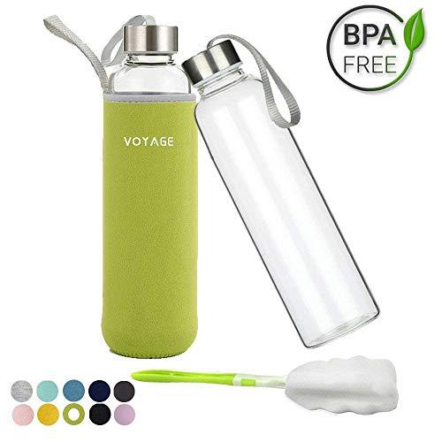 Voarge Botella de Agua Cristal 550ml, Botella de Agua Reutilizable 18 oz, Sin BPA Antideslizante Protección Neopreno Llevar Manga y Cepillo de Esponja, Verde