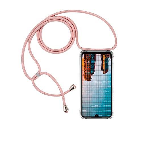 FMPC Carcasa con Cuerda Xiaomi Mi Note 10, Cristal TPU Silicona Transparente Ultrafina de movil Case con Colgante Funda Protector Airbag [Moda y Practico] Anti-rasguños Antichoque