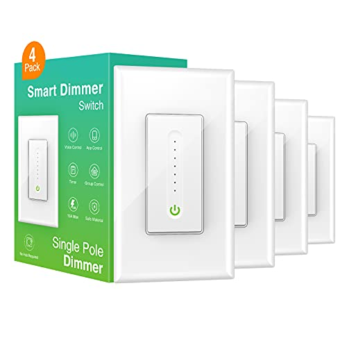 Smart Dimmer Switch, WiFi Smart Light Switch Work with Alexa and Google Home, Neutral Wire Needed,Remote Control,Single-Pole, No Hub Required, Etl and Fcc Listed (4 Pack)