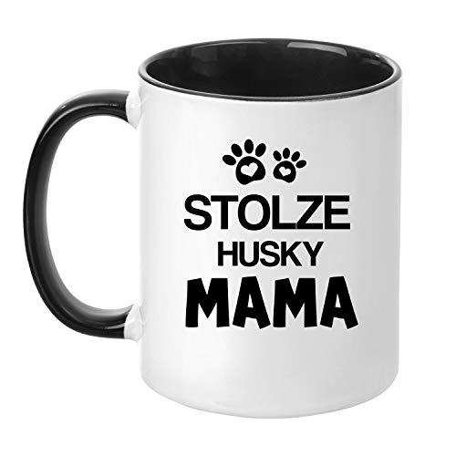 TassenTicker® - ''Stolze Husky Mama'' - Kaffeetasse - Hunde-Tasse - Hundebesitzerin - Frauchen - Geschenkidee - Schwarz