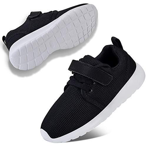 WateLves Laufschuhe Kinder rutschfest Schuhe Turnschuhe Atmungsaktiv Outdoor Sportschuhe Klettverschluss für Jungen Mädchen(Schwarz,12 UK Child,31 EU,30 Asian)