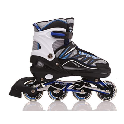 XXD Inline Skates für Kinder verstellbar Größen/leuchtenden Rollen-mädchen/Jungen Rollerskates Rollschuhe PU Verschleißfeste komfortable atmungsaktiv Größe 31-42Blue-L