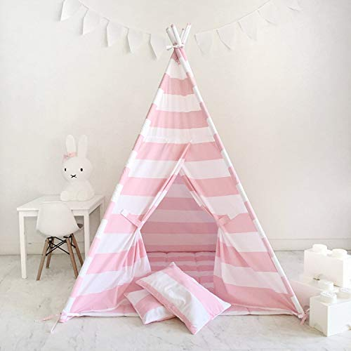 Best Teepee Tent for Kids with Window & Floor, Including Style Matching Accessories & Carrying Case — Great Kids Teepee for Indoor Playroom & Bedroom — PinkThin Stripe_1pc