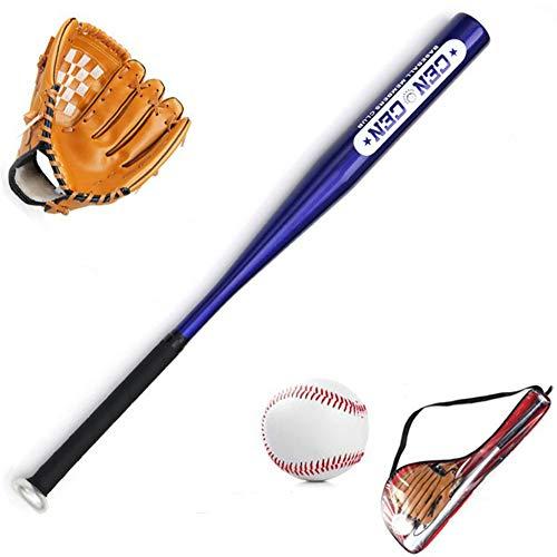 WHITNEY Juego De Béisbol para Niños Bate De Béisbol De 24 Pulgadas Y Béisbol Estándar De 9 Pulgadas Y Guante De Béisbol DE 10.5 Pulgadas,BrownGlove+BlueBat