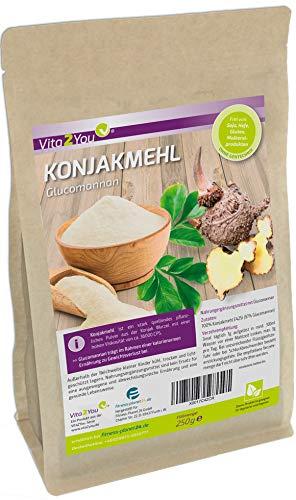 Konjakmehl 250g - feines Glucomannan Pulver - Glutenfrei - konjakwurzel - Zippbeutel - Premium Qualität