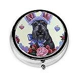 Huevos de Pascua de colores Scottish Terrier Flores Vintage Novedad Caja de pastillas redonda Medicina de bolsillo Soporte para tableta Estuche organizador para monedero