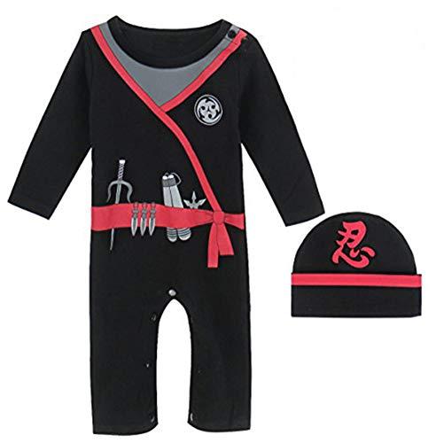 MOMBEBE COSLAND Baby Jungen Ninja Kostüm Langer Strampler (3-6 Monate,Schwarz)