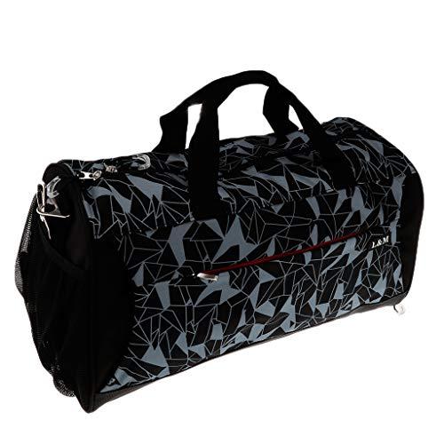 IPOTCH Bolsa para Esterilla de Yoga Bolso Gimnasio Ejercicio Yoga Mat Bag con Correa de Almacenamiento Multifunción para Hombre Mujer - Gris geométrico