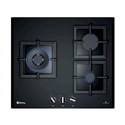 Balay, 3ETG663HN - Placa de gas natural, 3 Zonas, Ancho 60 cm, integrable, Cristal templado y hierro fundido, 2 quemadores de gas y 1 quemador wok, 8000 W, Negro, 45 x 600 x 520 mm