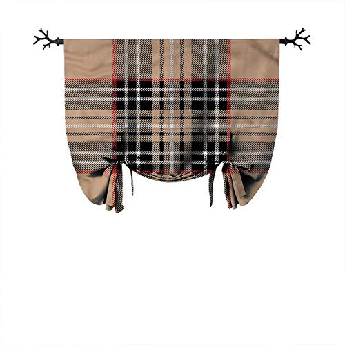 Mozenou Kitchen Roman Curtain-Checkered,Classic British Plaid,Ideal for Living Rooms and bedrooms,W42 xL64 One Panel