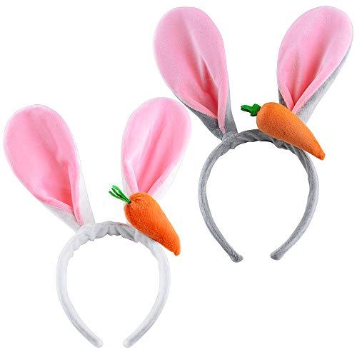 2 Stück Plüsch Hasenohren Haarreif Haarband mit Karotten Ostern Hase Bunny Kaninchen Häschen Ohren für Ostern Karneval Party Hochzeit Geburtstag Kostüm Cosplay Weiß und Grau