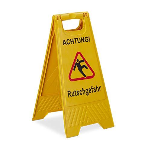 Relaxdays Achtung Rutschgefahr Aufsteller, klappbar, Warnschild vor Glätte, beidseitig beschriftet, Hinweisschild, gelb