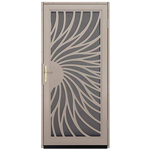 Unique Home Designs Solstice 36 in. x 80 in. Tan Outswing Security Door with Insect Screen and Satin...