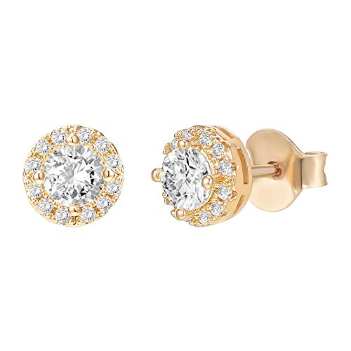 PAVOI 14K Gold Plated Sterling Silver Post Round Halo Cubic Zirconia Stud Earrings in Yellow Gold