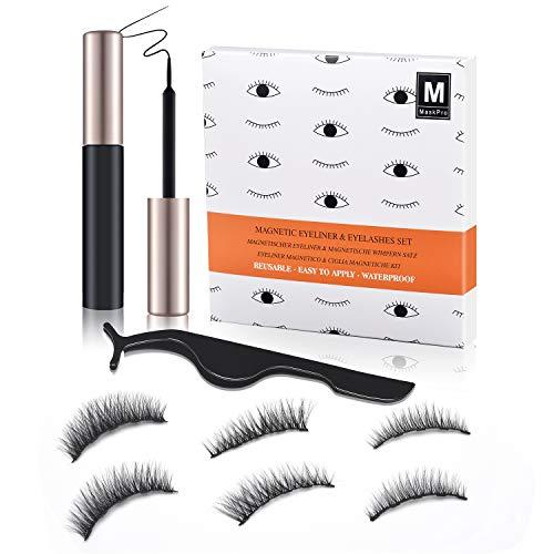 Kit Ciglia Magnetiche e Eyeliner Magnetico, Ciglia Finte Naturali 3D, Impermeabili e Resistenti alle Sbavature, Ciglia Finte Magnetiche Senza Colla, Pinzetta Inclusa (3 Paia)