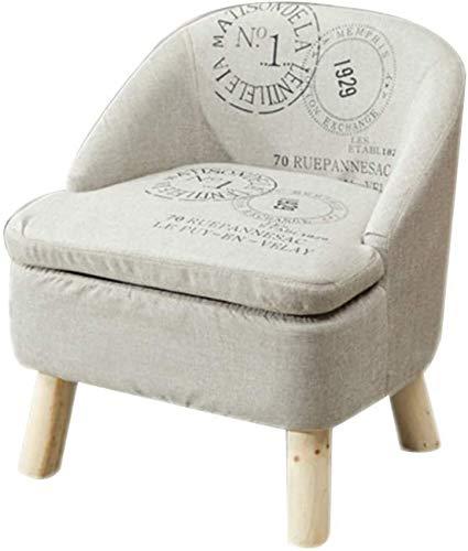 POETRY Silla de sofá pequeña con Respaldo Taburete tapizado con Funda de Lino Desmontable Patas de Madera Taburete de Mesa de Centro Sala de Estar-c F