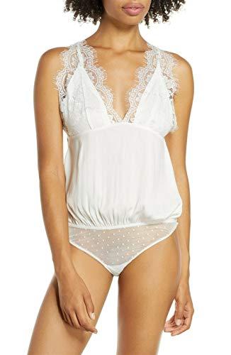 Free People Melrose Open-Back Lace-Trim Bodysuit Ivory X-Large