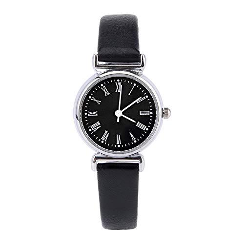 Reloj de Vestir para Mujer, pequeño Mini Reloj de Cuero Retro para colegas para Amigas(Black Belt Black Disk)