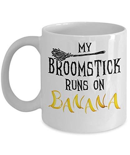 Tazza da caffè in ceramica con streghe divertenti - Il mio manico di scopa funziona con una banana   Miglior Halloween, regalo di compleanno per amanti della banana, vegano, papà, mamma, ragazzo, raga
