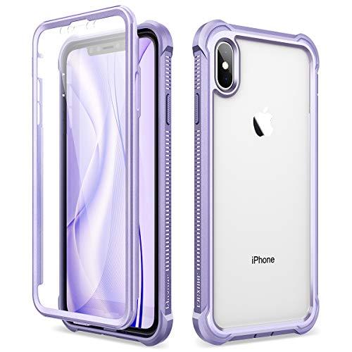 Dexnor Cover per iPhone X iPhone XS (5.8''), Custodia di Protezione a 360 Gradi, [Antiurto] [Leggero] Pannello Posteriore TPU Trasparente, con Protezione per Lo Schermo - Viola
