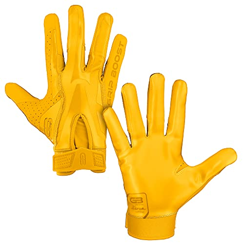 Grip Boost Stealth Solid Color Football Gloves Pro Elite - Adult Sizes (Yellow, Adult Small)