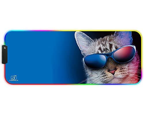 FORRICA Alfombrilla de Ratón RGB 800 x 300 x3 mm Alfombrilla Raton Gaming Grandes XXL Impermeable con Base de Goma Antideslizante para Gamers Ordenador y Oficina Mouse Pad Gato