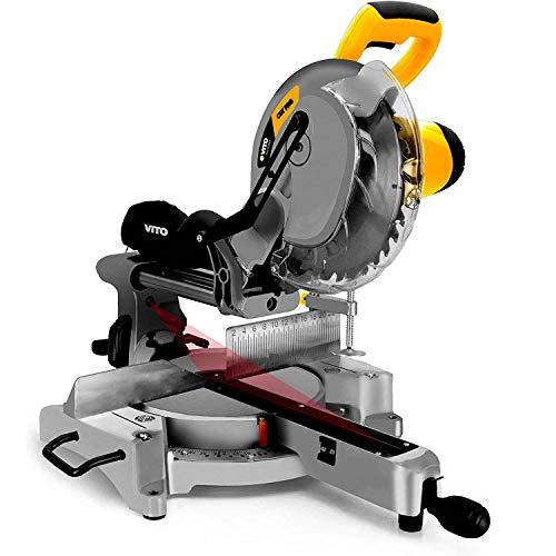VITO Professional Paneelsäge - Kapp und Gehrungssäge 2100W 255mm Sägeblatt - Kappsäge mit Hohe Schnittkapazität & LED Schnittlinien Anzeige