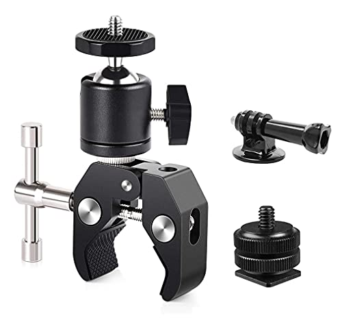 Camera Super Clamp Mount with Ball Head Mount Hot Shoe Adapter with 1/4 Thread for GoPro Hero 9 8 7 6 5 4,DJI Action Cameras, LCD Field Monitor, LED Lights Multi-function 360 ° Motorcycle Camera Mount