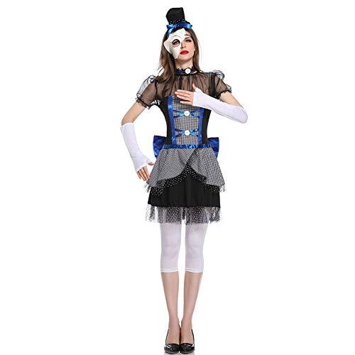 CGBF - Vestido de mueca rota de payaso zombi para adultos, disfraz de vampiro, disfraz de fiesta de Halloween, color negro, M