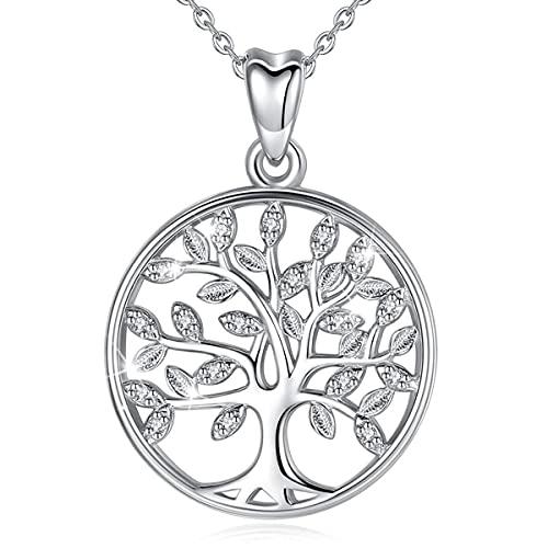 Lebensbaum Kette, EUDORA Baum des Lebens Kette S925 Sterling Silber Keltischer Knoten schmuck Halsketten für Frauen, Geschenk für Damen Tochter Schwester, 45,7 cm Kette (lebensbaum kettes)