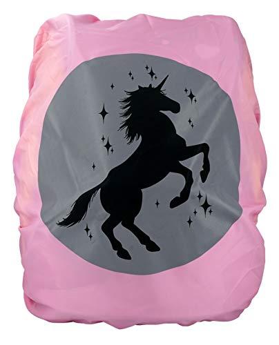 Premium Schulranzen/Rucksack Regenschutz/Regenüberzug, ohne Nähte, 100% wasserdicht, mit Sicherheits-Reflektionsbild Einhorn, pink