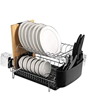 alvorog 2 Tier Stainless Dish Drain with Removable Drip Tray, Cutlery Holder and Cup Holder, Microfiber Dish Drying Mat, Drain Board, Perfect Dish Rack in Kitchen (double)