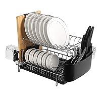 alvorog scolapiatti da appoggio dish rack con rimovibile vassoio gocciolamento +portabicchieri per cucina, scolapiatti da appoggio per lavello 2 livelli, 49 x 32 x 23 cm