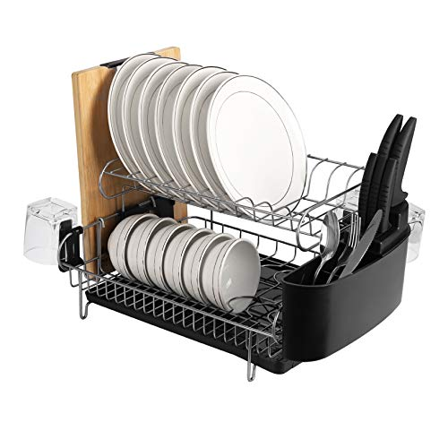 alvorog 2 Tier Anti-Rust Dish Drainer with Removable Drip Tray, Cutlery Holder and Cup Holder, Microfiber Dish Drying Mat, Draining Board, Ideal Dish Rack in Kitchen(Double)