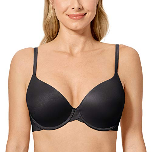 Meliwoo Women's Full Coverage Lightly Lined Soft Underwire T-Shirt Bra Black 36A