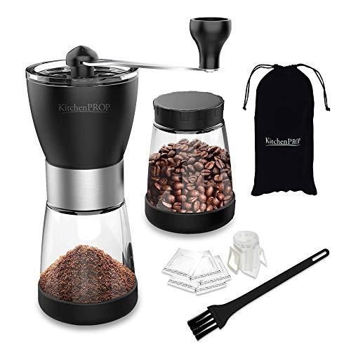 Kitchen Prop Moulin à café manuel conique et réglable en céramique Compatible avec expresso AeroPress Pour voyage camping randonnée