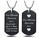 Interway Trading Personalized Regular Size Custom Message Engraved Stainless Steel Necklace Dog Tag Pendant with 24 inch Chain,Velvet Giftpouch and Keyring (Rectangular Black)