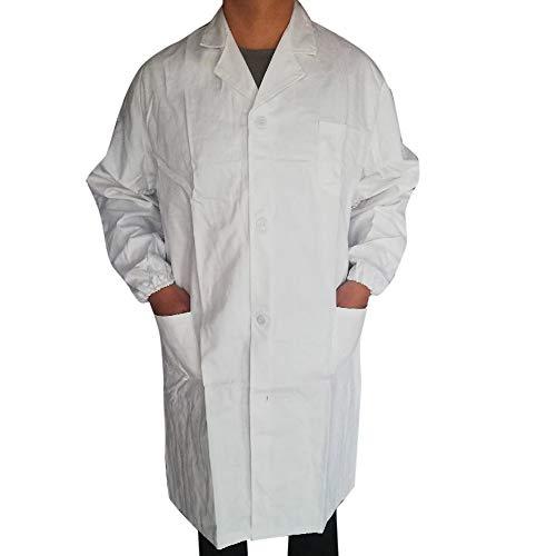 iHENGH Damen Herbst Winter Bequem Mantel Lässig Mode Jacke Frauen Männer Unisex Laborkittel Langarm Weiß Outwear Bluse Mit Taschen