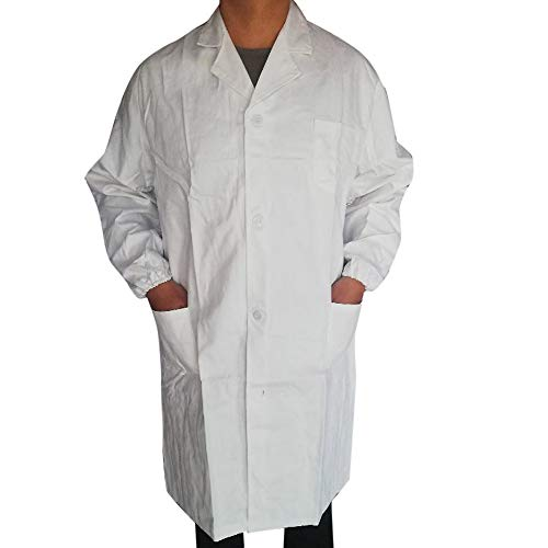 SUMTTER Laborkittel für Damen & Herren, Kittel Medizin weiß, Unisex Berufsmantel mit Druckknöpfen (Weiß2, M)