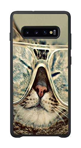 AOFFLY Case for Samsung Galaxy S10 - Hipster Cat - Shock Absorption Protection Phone Cover Case