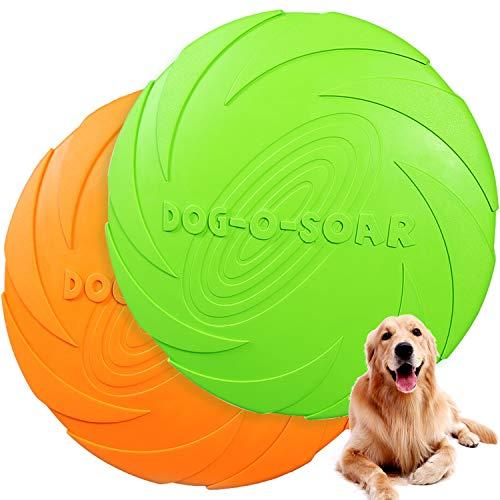 Demason 2 Pcs Flying Disco para Perros(18cm), Cachorros, 2 Piezas, Frisbee de Gaucho, Naranja y Verde, Juguete para Jugar con Perros en la Playa, el Campo, el Patio, Construyendo Profonda Rela