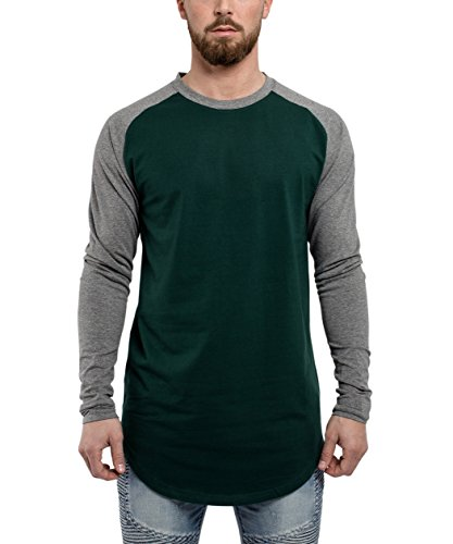 Blackskies Baseball Longsleeve T-Shirt | Langes Oversize Fashion Basic Langarm Raglan Herren Longshirt Long Tee Melliert - Grün-Grau Medium M
