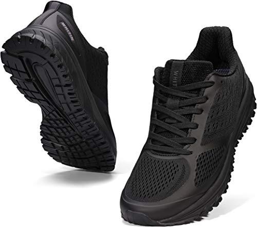 WHITIN Laufschuhe Herren Joggingschuhe Straßenlaufschuhe Turnschuhe Sportschuhe Gym Schuhe Walkingschuhe Fitnessschuhe Leichte Outdoor Atmungsaktiv Alltagsschuh Running Shoes Schwarz 43 EU