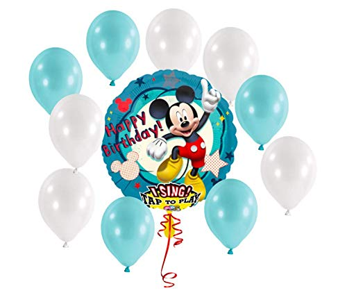 Mr. Leon Disney Micky Maus Ballon singt Happy Birthday Kindergeburtstag Folienballon + 5 Blaue + 5 weiße Balloons