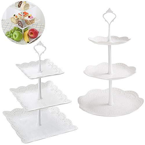 inherited 2 Piezas Soportes de plástico para Tartas, Bandeja de Postre Cupcakes Caramelos y Frutas Desmontable para Boda Fiesta Tarde cumpleaños