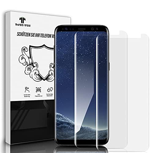 Three-Tree Panzerglas Schutzfolie für Samsung Galaxy S8, [2 Stück] Volle Transparent Panzerglasfolie, 9H Härte, Blasenfrei, HD Clear, Displayschutzfolie für Samsung S8