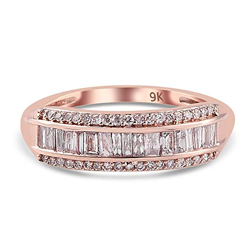 TJC Natural Pink Diamond Band Ring for Womens in 9ct Rose Gold Wedding/Proposal/Anniversary Jewellery Size N April Birthstone, TCW 0.53ct