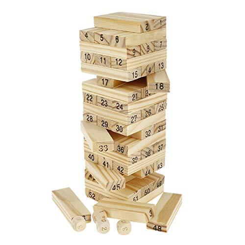 Your's Bath Montessori Dominó Infantil Juego de Torre de Madera Apilable, 54 Piezas Bloques de Números, Educativos Fichas Construcción, Juguete Aprendizaje Regalo para Niños (Color madera con números)