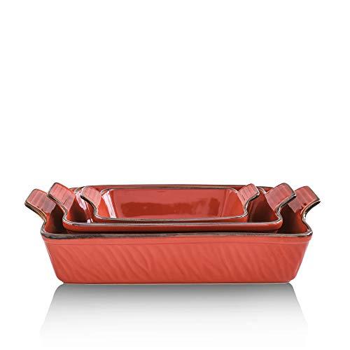 KOOV Bakeware Set, Ceramic Baking Dish Set, Rectangular Casserole Dish Set, Lasagna Pans for Cooking, Cake Dinner, Kitchen, 9 x 13 Inches, Texture Series 3-Piece (3 Piece, Cherry)