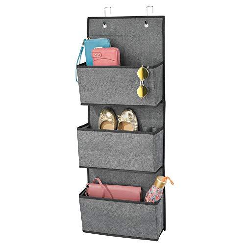 mDesign Soft Fabric Over The Door Hanging Storage Organizer with 3 Large Pockets for Closets in Bedrooms, Hallway, Entryway, Mudroom - Hooks Included - Textured Print - Charcoal Gray/Black